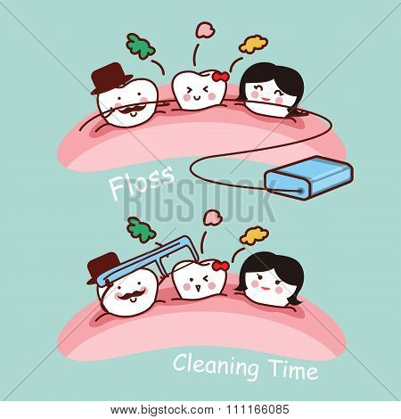 Cartoon Tooth Family With Floss