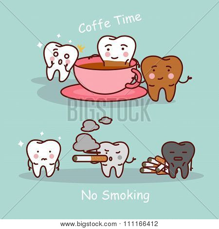 Tooth With Coffee And Smoke