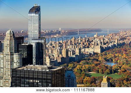 Aerial View, Central Park In Fall, Upper West Side, NYC