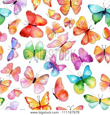 Seamless Watercolor Butterfly Background Pattern