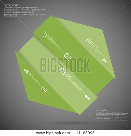 Infographic Template With Hexagon Askew Divided To Four Green Parts