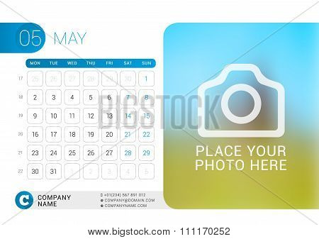 Desk Calendar For 2016 Year. May. Vector Design Print Template With Place For Photo, Logo And Contac