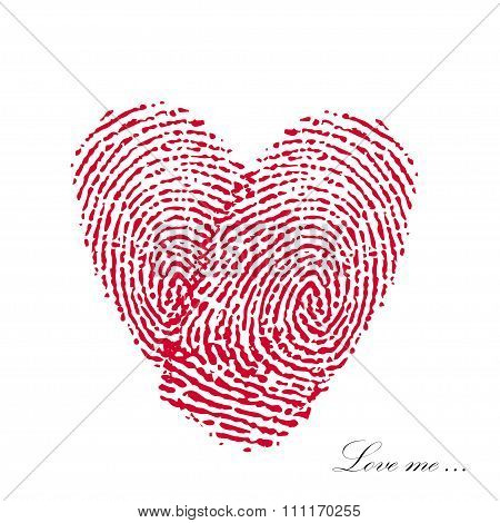 Pink fingerprint with heart on a white background. Vector