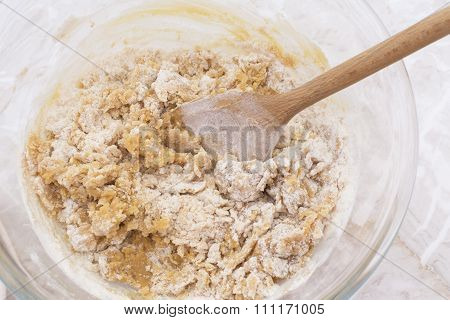 Stirring Dough To Make Peanut Butter Cookies