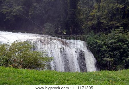 Marmore's Waterfalls (terni Italy) Velino River At First Jump Of Three. Marmore's Waterfall