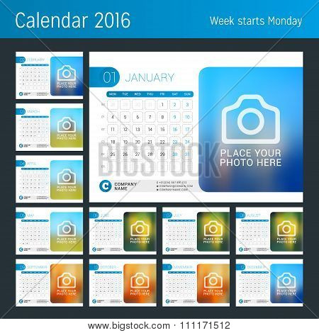 Desk Calendar For 2016 Year. Set Of 12 Months. Vector Design Print Template With Place For Photo, Lo