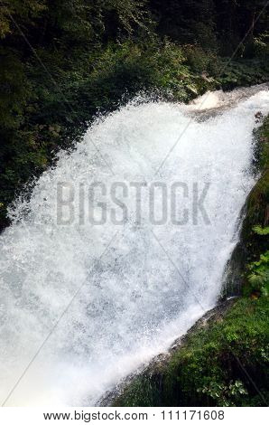 Marmore's Waterfalls (terni Italy) Velino River At First Jump Of Three. Marmore's Waterfall Is The H