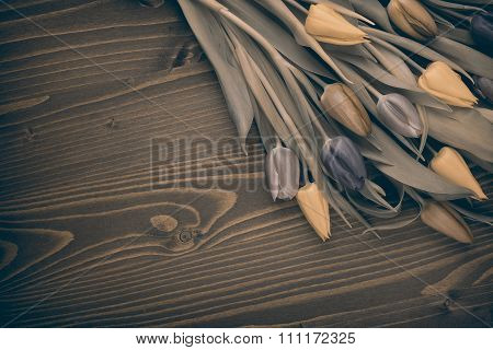 tulips over brown wooden table old effect