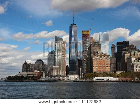 World Trade Center Freedom Tower One With Skyline And Water