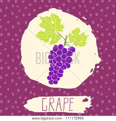 Grape Hand Drawn Sketched Fruit With Leaf On Background With Dots Pattern. Doodle Vector Grape For L