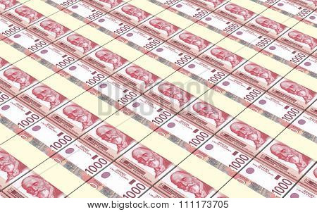 Serbian dinar bills stacks background. Computer generated 3D photo rendering.