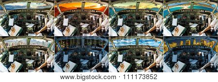 Cockpit airplane collage