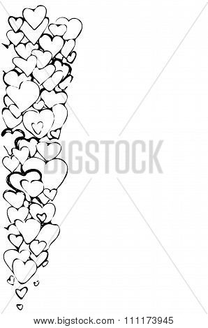 Sketch Of A Vector Background Of A Variety Of Hearts