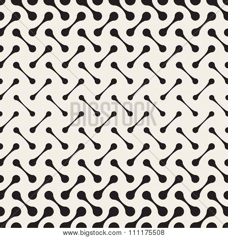 Vector Seamless Black And White Arc Connected Circles Grid Halftone Gradient Pattern