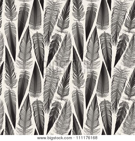 Vector Black And White Seamless Bird Feather Jumble Pattern