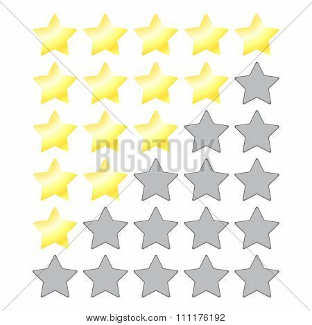 Vector Star Rating With Gold Stars And A Gray Empty Recesses For The Stars