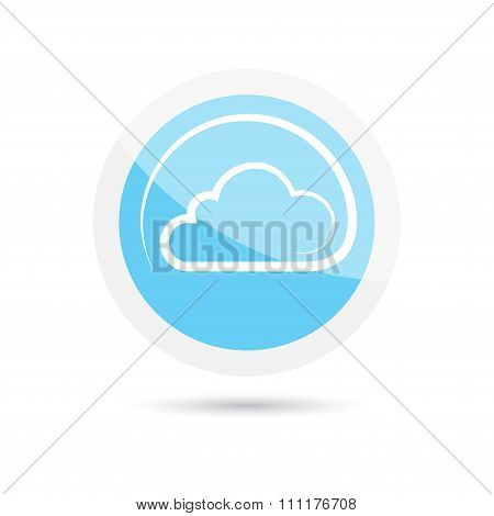 Glossy Vector Round Icon Clouds On A Blue Background
