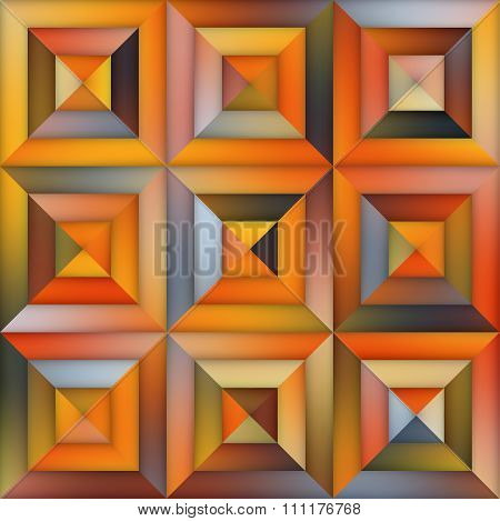 Vector Gradient  Geometric Tiling Pavement In Orange Shades Abstract Background