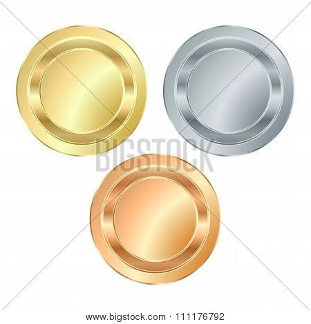 The Empty Vector Stamp With Gold Silver Bronze, Which Can Be Used As Icons, Buttons, Coins, Medals