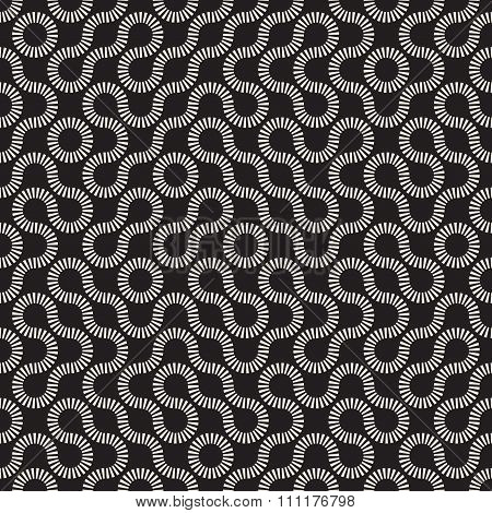 Vector Seamless Black And White Rounded Circle Maze Dash Line Truchet Pattern