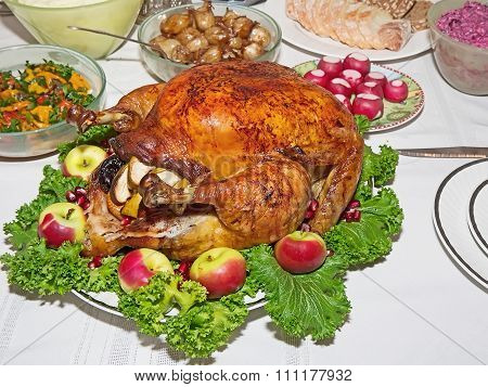 Holiday Table With Roast Capon