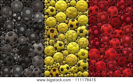 National Flag Of The Kingdom Of Belgium Soccer Balls Mosaic Illustration Design Concept