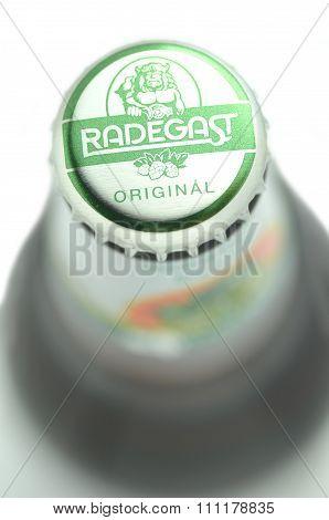 Radegast original beer isolated on white background