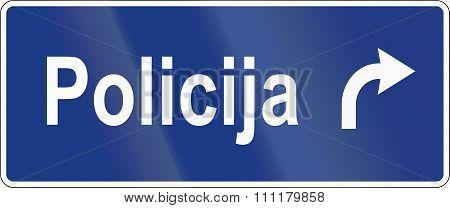 Slovenian Road Sign - Police Station Direction