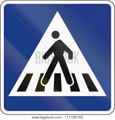 Slovenian Regulatory Road Sign - Zebra Crossing