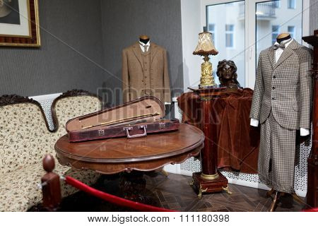 ST. PETERSBURG, RUSSIA - NOVEMBER 25, 2015: Costumes and props used in the Soviet movie project