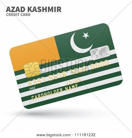 Credit card with Azad Kashmir flag background for bank, presentations and business. Isolated on whit