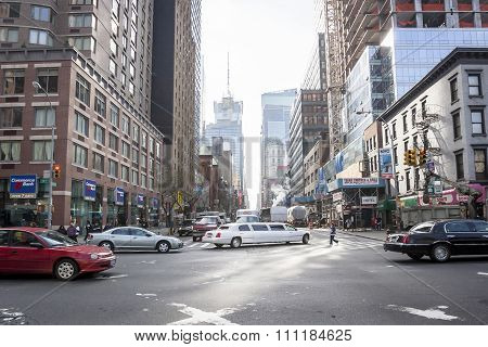 Busy Street In Manhattan