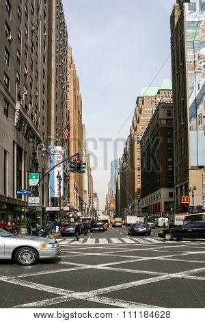 Busy Street In Midtown Manhattan