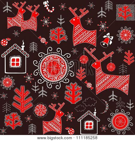 Winter retro wrapper with abstract pattern