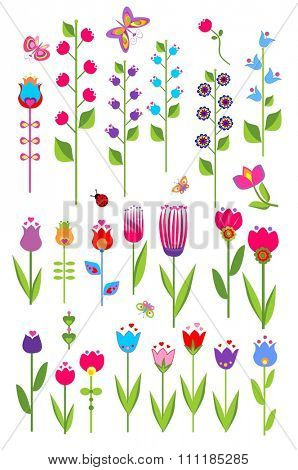 Vector tulips and bluebell. Set