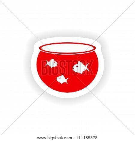 icon sticker realistic design on paper aquarium fish