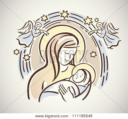 Blessed Virgin with the infant Jesus in her arms. Nativity!