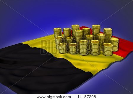 Belgian economy concept with national flag and golden coins
