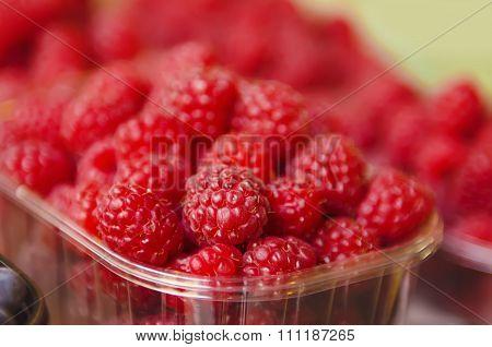 Fresh raspberry at market