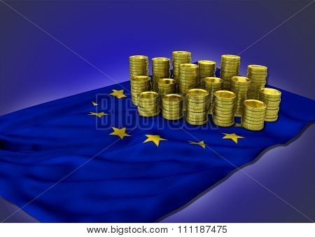 European economy concept with national flag and golden coins