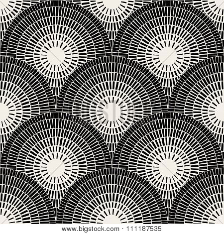 Vector Seamless Black And White  Brick Round Pavement Mosaic Pattern