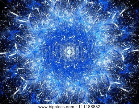 Blue Glowing Mandala Shaped Explosion With Particles