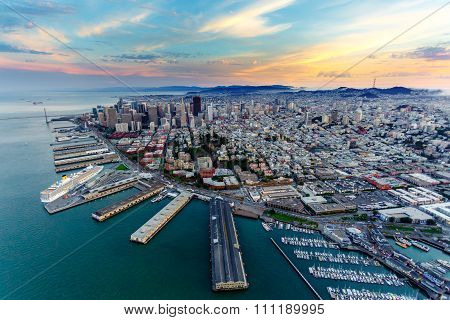 Aerial View Of San Francisco At Sunset