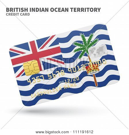 Credit card with British Indian Ocean Territory flag background for bank, presentations and business