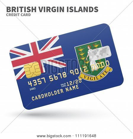 Credit card with British Virgin Islands flag background for bank, presentations and business. Isolat