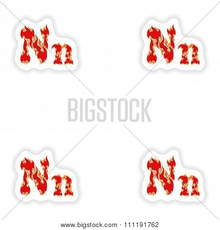 assembly stickers fiery font red letter N on white background