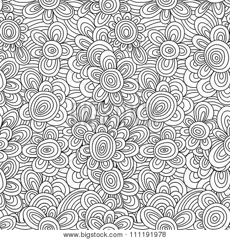 Seamless vector floral monochrome pattern. For easy making seamless pattern just drag all group into