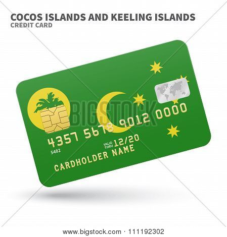 Credit card with Cocos and Keeling Islands flag background for bank, presentations, business. Isolat