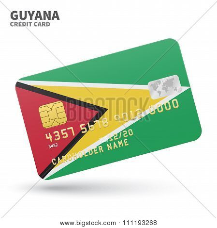 Credit card with Guyana flag background for bank, presentations and business. Isolated on white