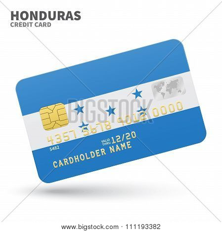 Credit card with Honduras flag background for bank, presentations and business. Isolated on white